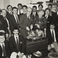Picture:Brian Green - 1991 - RNLI Mrs Keene's Christmas Party - Jurat Guy Blampied carves the turkey with Mrs Georgina Keene