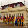 Some of the St Peter Port Lifeboat Crew below their Lifeboat Shed 13-10-14 Pic by Tony Rive (2).jpg