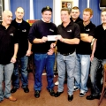 The Six man Snooker Team that completed a 24 hour Marathon helping to raise £3,500.00 for the Local RNLI - Pic by Tony Rive 08-10-10