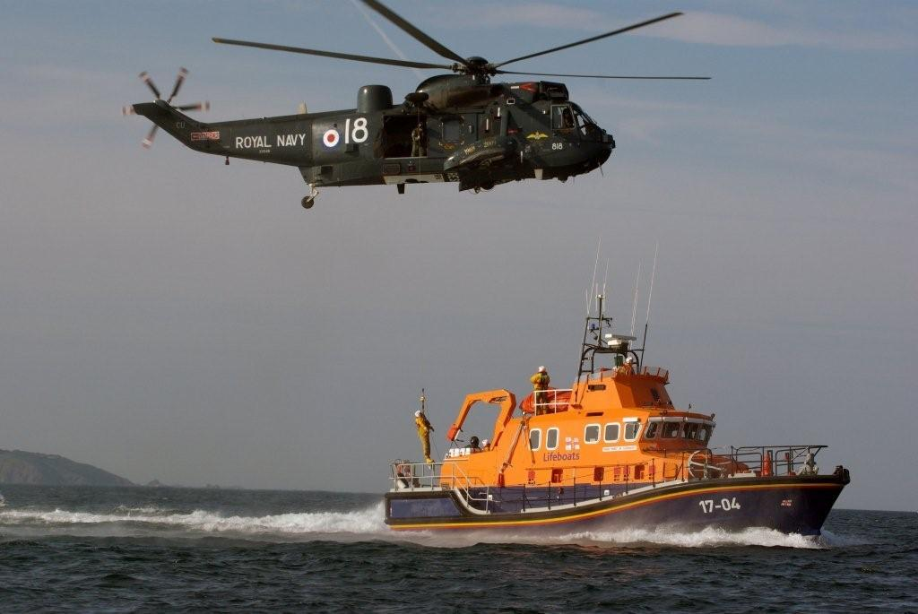 A Lifeboatman being lowered to the deck of Spirit of Guernsey by Royal Navy Helicopter 05-06-09 Pic by Tony Rive (0)