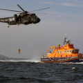 A Lifeboatman being lowered to the deck of Spirit of Guernsey by Royal Navy Helicopter 05-06-09 Pic by Tony Rive (3)_0