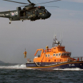 A Lifeboatman being lowered to the deck of Spirit of Guernsey by Royal Navy Helicopter 05-06-09 Pic by Tony Rive (6)