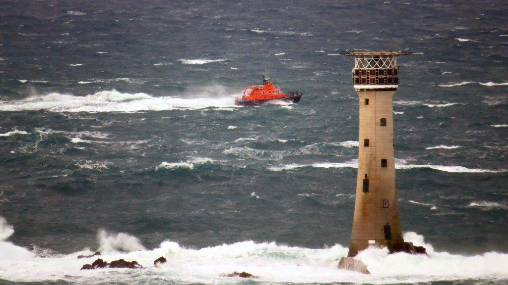 Spirit of Guernsey heading north behind Les Hanois Lighthouse whilst on Ccrew Training 11-01-15 Pic by Tony Rive (1)
