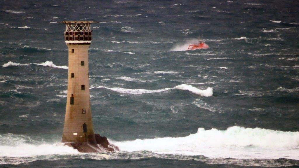 Spirit of Guernsey heading north behind Les Hanois Lighthouse whilst on Ccrew Training 11-01-15 Pic by Tony Rive (2)