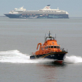 The St Peter Port Lifeboat passing St Martin's Point on a Shout 18-05-10 Pic by Tony Rive (6)