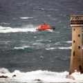 Spirit of Guernsey heading north behind Les Hanois Lighthouse whilst on Ccrew Training 11-01-15 Pic by Tony Rive (1).jpg