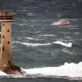 Spirit of Guernsey heading north behind Les Hanois Lighthouse whilst on Ccrew Training 11-01-15 Pic by Tony Rive (2).jpg