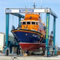 St Peter Port Lifeboat Spirit of Guernsey in Marine and General Engineers new Traval Hoist Pic by Tony Rive