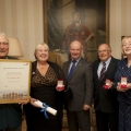 Picture: Brian Green - 24/09/2013 - RNLI presentations at Government House - left to right Alf Solway, Verinica Gould, HE, Edward Frattorini, Celia Allen