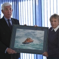 Picture:Brian Green - 18/04/10 - At the annual general meeting of the local brach of the RNLI Mrs Jenny Collas presented the station with a painting of the Spirit of Guernsey, the painting was used on the 2009 Christmas card and made  a good sum of money for the Ladied Lifeboat Guild