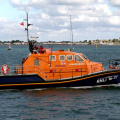Pic by Tony Rive 26-09-10  The new Tamar Lifeboat Alfred Albert Williams leaving St Peter Port harbour for its new Station at Bembridge in the Isle of Wight.