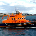 Pic by Tony Rive 26-09-10   The rlief Severn Class Lifeboat Daniel J Gibson leaving St Peter Port this morning for Crew Traing. Coxwain Buz White told me that they were going to put the boat through its paces to make sure everything worked before they have to use it in a real shout.
