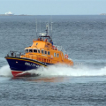 "Pic by Tony Rive 29-04-09The RNLI's Relief Severn Class Lifeboat ""Margaret Joan and Fred Nye"" about to enter St Peter Port after showing off it's paces to local Coxwain Buz White and two of our Engineers and the Guernsey Harbour Master, Peter Gill.The boat has just completed a one Million pound refit in which the Engine room was adapted to take new MTU 1500hp engines."