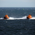 Lifeboats Volunteer Spirit (L) & Spirit of Guernsey turn to Port after leaving the Corbet Passage to head for St Peter Port 23-10-16 Pic by Tony Rive (2)