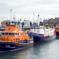Passenger Ferry Bonn Marin de Serk sandwiched by Lifeboats Spirit of Guernsey (L) & Volunteer Spirit in St peter Port harbour 10-10-16 Pic by Tony Rive (3)