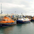 Passenger Ferry Bonn Marin de Serk sandwiched by Lifeboats Spirit of Guernsey (L) & Volunteer Spirit in St peter Port harbour 10-10-16 Pic by Tony Rive (4)