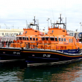 Pic by Tony Rive 20-09-10   Relief Severn class Lifeboat Daniel J Gibson 17-38 moored alongside the St Peter Port Lifeboat Spirit of Guernsey 17-04 after arriving from Poole. The boat will take up Station tomorrow whilst our boat returns to the UK for some minor Hull repairs and some work on the Engines.