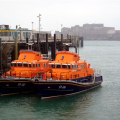 Pic by Tony Rive 03-11-08The Guernsey Lifeboat Spirit of Guernsey (17-04) arrived back in St Peter Port at dinnertime today after being repaired following hitting rocks last month, just day's after it returned after it's 13 month refit. The picture shows it alongside the Relief Severn class Lifeboat, The Will (17-02), which will return to the UK tomorrow. The Spirit of Guernsey was repaired in Poole at the RNLI's base.