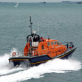Pic by Tony Rive 11-09-10    The brand new Tamar class Lifeboat Alfred Albert Williams leaving St Peter Port, bound Jersey. The boat 16-17 is to become the new boat for the newly built Bembridge station in the Isle of Wight.