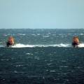 Lifeboats Volunteer Spirit (L) & Spirit of Guernsey heading south through the Little Russel towards St Peter Port 23-10-16 Pic by Tony Rive (1)