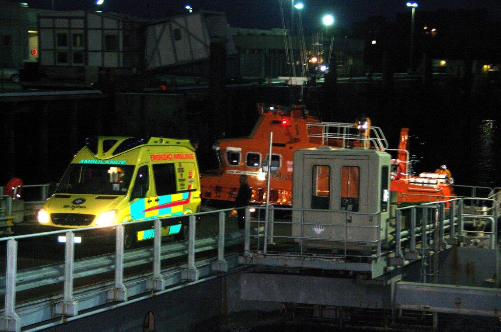 A Male Kayaker inside an Ambulance after arriving in St Peter Port by Lifeboat 16-11-14 Pic by Tony Rive