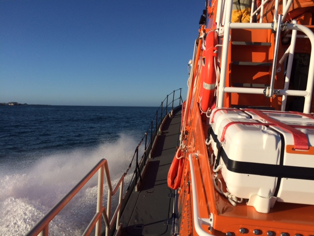 St Peter Port lifeboat heading North up the Little Russel on its way to Grand Rocques - photo by Carl Bisson