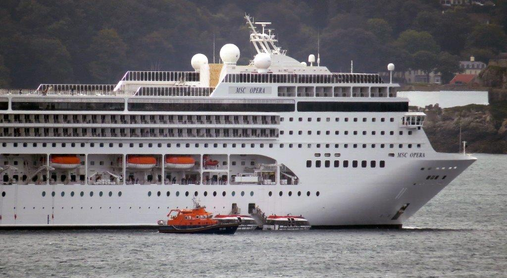 Lifeboat Daniel L Gibson carrying out a Medi-Vac from the Cruise ship MSC Opera 30-08-14 Pic by Tony Rive (3).jpg