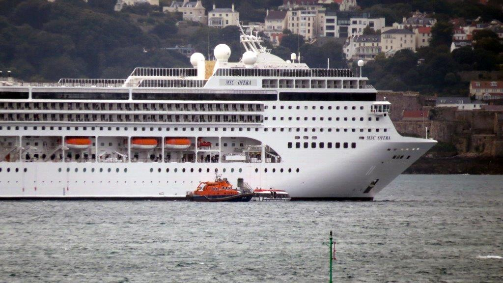 Lifeboat Daniel L Gibson carrying out a Medi-Vac from the Cruise ship MSC Opera 30-08-14 Pic by Tony Rive (4).jpg