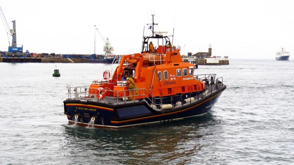 Spirit of Guernsey waiting to move alongside yacht Waton  at the Old Lifeboat Slip 15-05-15 Pic by Tony Rive.jpg