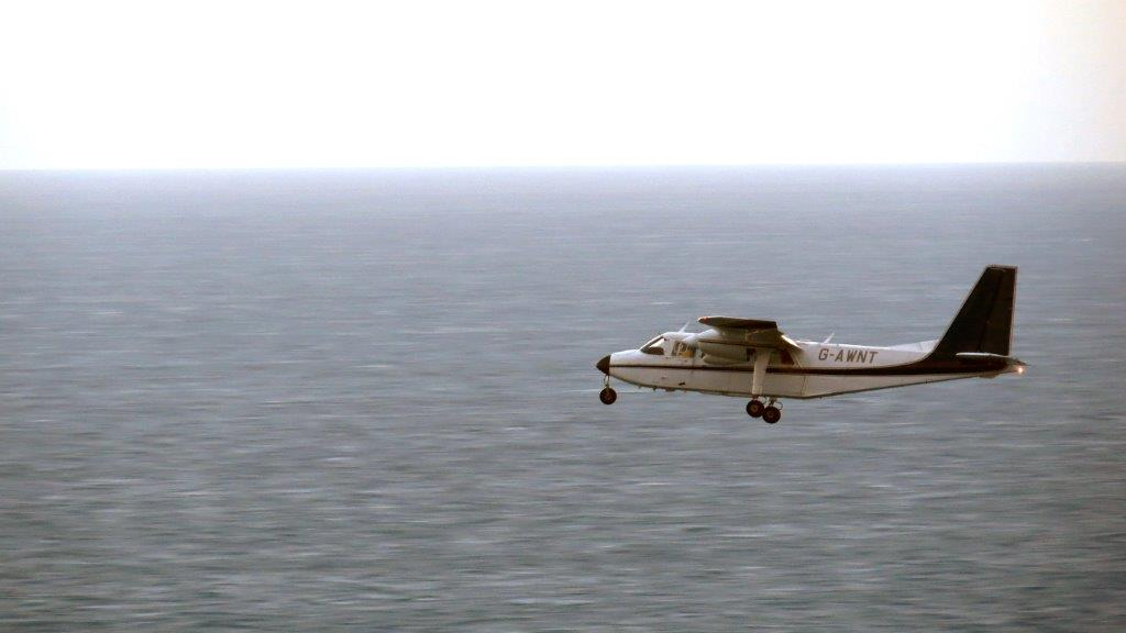 The Airsearch plane heads north past St Martin's Point 14-11-14 Pic by Tony Rive.jpg