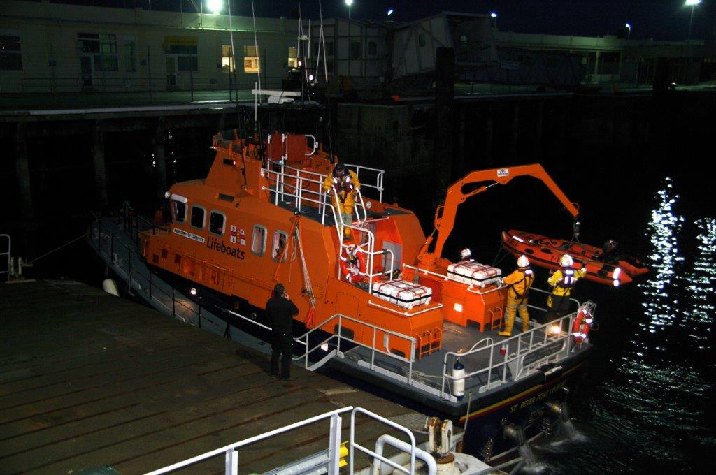 The Lifeboat Crew re-stowing their Y boat after returning to St Peter Port 16-11-14 Pic by Ttony Rive.jpg