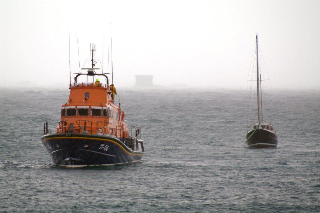 The St Peter Port Lifeboat with the local Yacht Arcady 24-02-10 Pic by Tony Rive (3)