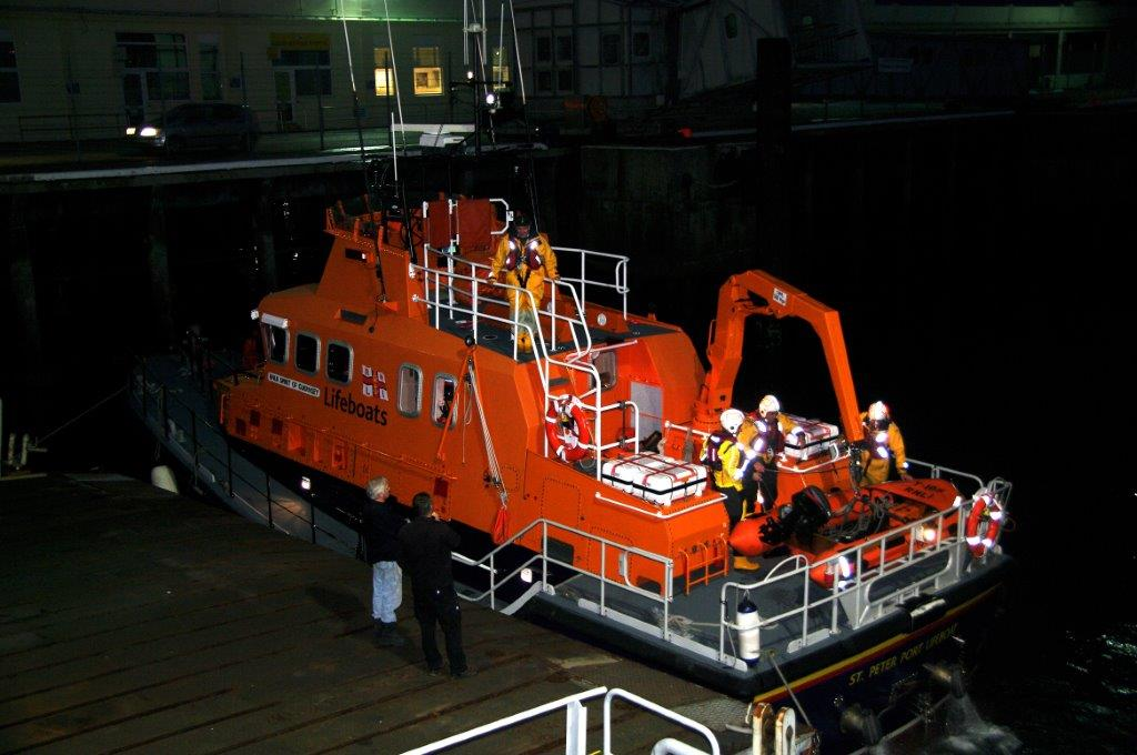The crew of the lifeboat prepare to re-stow their Y Boat onboard Spirit of Guernsey 16-11-14 Pic by Tony Rive.jpg