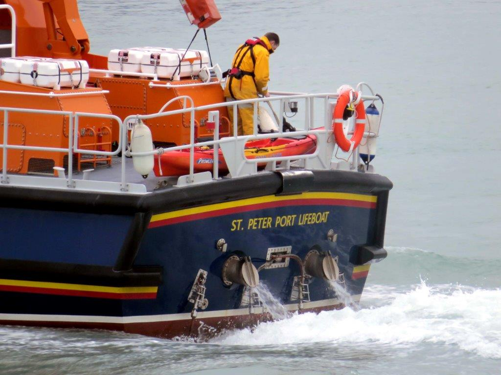 The empty Kayak being bought back to St Peter Port on the back of the Lifeboat 17-03-14 Pic by Tony Rive.jpg