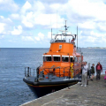 4 of the 5 Crew dis-embarking the Lifeboat Daniel L Gibson on the Old Lifeboat Slip 22-08-14 Pic by Tony Rive (1).jpg