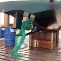 A mass of Green Fishing Net wrapped around Thiody's Prop 29-08-14 Pic by Tony Rive (3).jpg