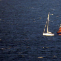 Daniel L Gibson arrives alongside the local yacht Majic off St Martin's Point 16-08-14 Pic by Tony Rive (5).jpg