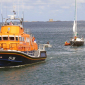 Daniel L Gibson towing French yacht Douze (13)back to St Peter Port 22-08-14 Pic by Tony Rive (1).jpg