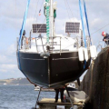 French yacht Douze (14) being craned out of St Peter Port harbour 22-08-14 Pic by Tony Rive (1).jpg
