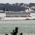 Lifeboat Daniel L Gibson carrying out a Medi-Vac from the Cruise ship MSC Opera 30-08-14 Pic by Tony Rive (5).jpg