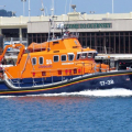 Lifeboat Daniel L Gibson heads out of St Peter Port for a Medivac from Sark 19-06-14 Pic by Tony Rive (1).jpg