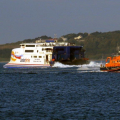 Lifeboat Daniel L Gibson towing the British yacht Jeanie 3 twards St Peter Port Harbour 29-06-14 Pic by Tony Rive (3).jpg