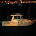 Marina staff taking the French Merry Fisher to the Victoria Marina 28-08-14 Pic by Tony Rive.jpg