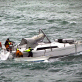 The Guernsey Lifeboat towing the French Dis-masted yacht Tiekoroba into St Peter Port 28-04-12 Pic by Tony Rive (4)