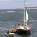 The Lifeboat Y boat moning the French yacht Douze (15) to the Old Lifeboat slip 22-08-14 Pic by Tony Rive (1).jpg
