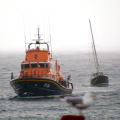 The St Peter Port Lifeboat with the local Yacht Arcady 24-02-10 Pic by Tony Rive (2)