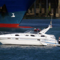 Wavedancer being towed to the Swan Pontoons Shout (1) 15-09-14 Pic by Tony Rive.jpg