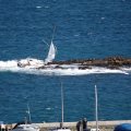 Yacht Ardel swinging back and forth in the swell on Goubeau Reef 15-04-12 Pic by Tony Rive (2)