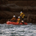 St Peter Port lifeboat crew taking blankets to the teenagers - photo by Tony Rive