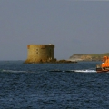 Lifeboat Daniel L Gibson towing the British yacht Jeanie 3 Pic by Tony Rive